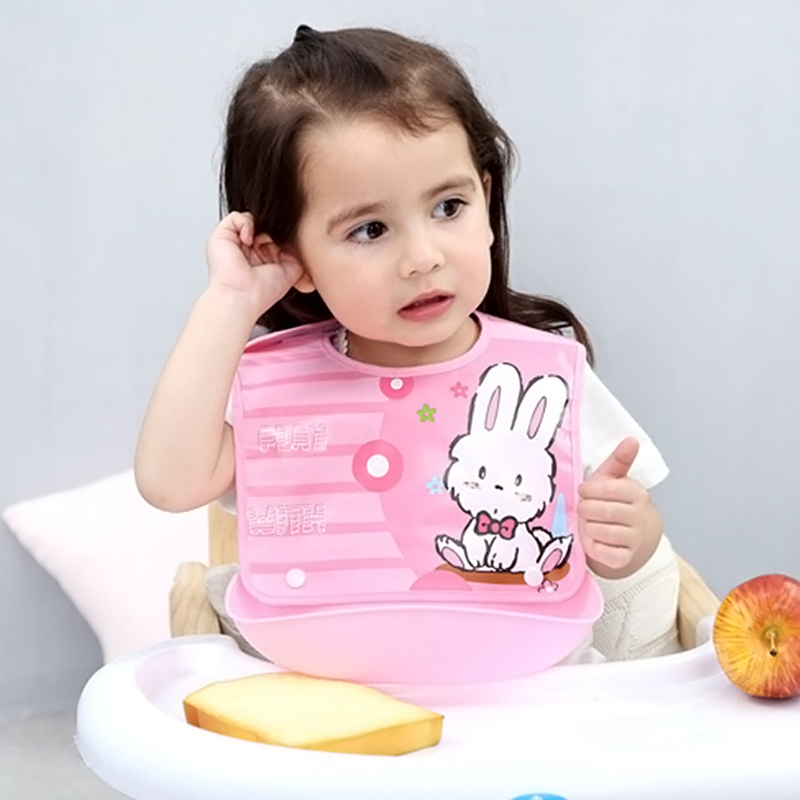 Baby Bibs Waterproof Silicone Saliva Towel Newborn Cartoon Aprons Adjustable Burp Toddler Kid Cloths Feeding Feeding Accessories