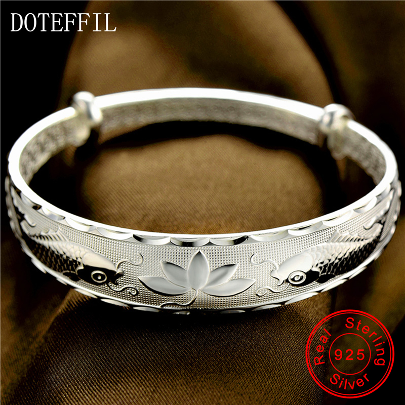 999 Silver Fish Bracelets Bangles Open Adjustable Bracelet 38g Silver Flower Bracelet Jewelry magic fish bracelets