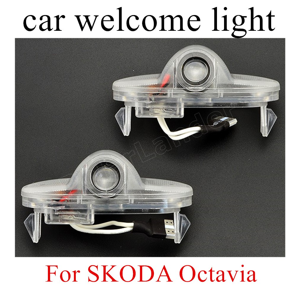 new coming 2X7W Car Door Projector Light Ghost Shadow Welcome Custom Courtesy Specified Ground For S-KODA for O-ctavia