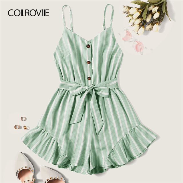 COLROVIE Plus Size Green Striped Ruffle Hem Spaghetti Strap Playsuits Women Summer Sleeveless Button Beach Wear Belted Romper