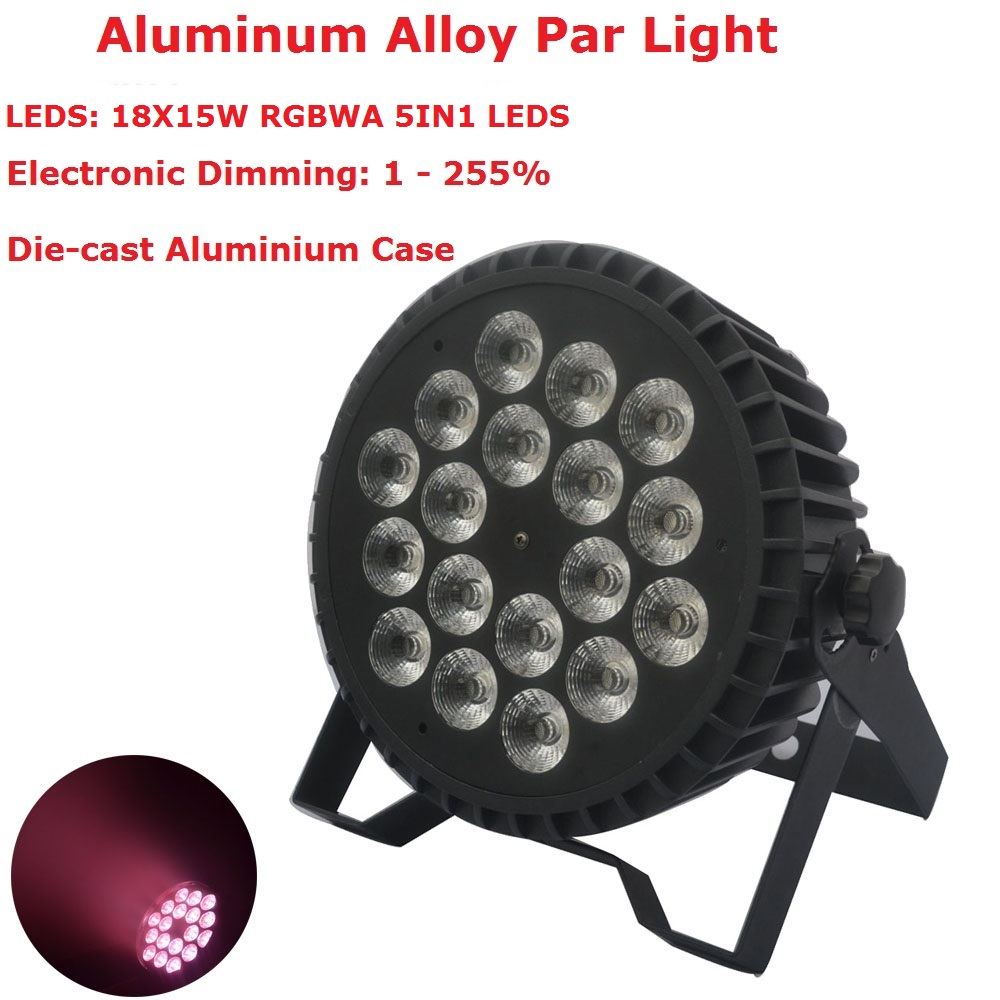 Aluminum Alloy Flat Par Lights 18X15W RGBWA 5IN1 DMX Par Stage Lights 5/8 Channels For Xmas Holiday Decorations Free ShippingAluminum Alloy Flat Par Lights 18X15W RGBWA 5IN1 DMX Par Stage Lights 5/8 Channels For Xmas Holiday Decorations Free Shipping