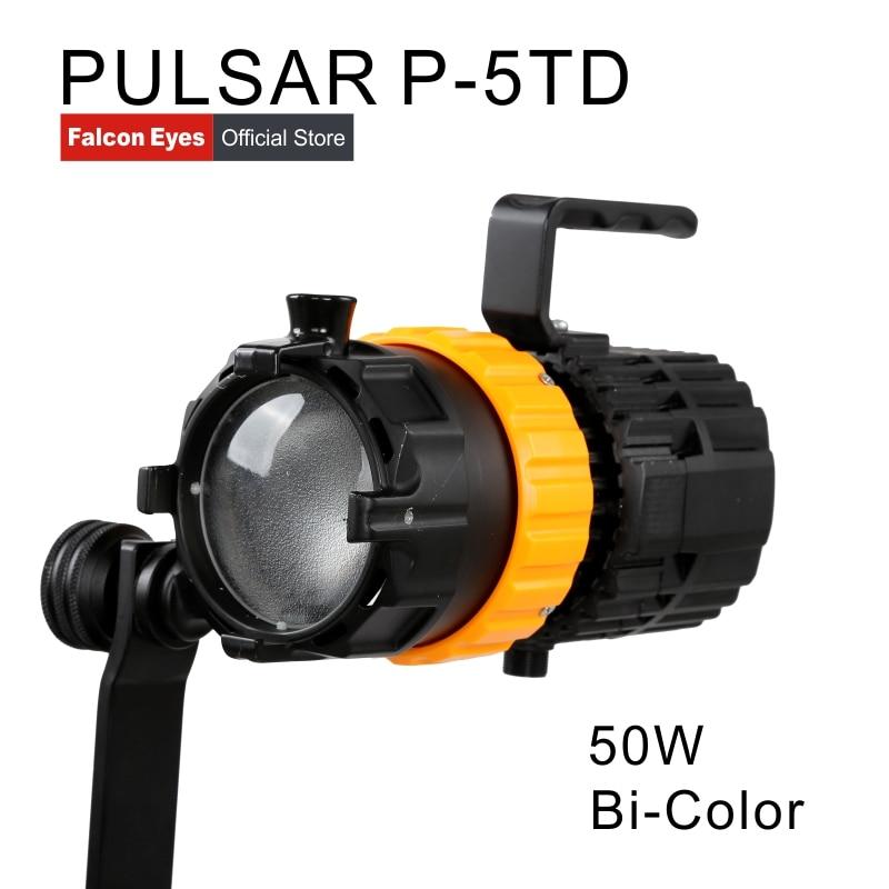 Falcon Olhos Equipamento de Fotografia 50W Bi-Color Para Iluminação De Estúdio de Vídeo Lâmpada Spot Mini Foco Ajustável Comprimento de Preenchimento luz P-5TD