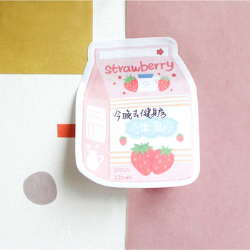 1PC Kawaii Cute Strawberry Milk Sticker Bookmark Marker Memo Pad Flags Sticky Note Stationery School Supplies Papeleria sl1776