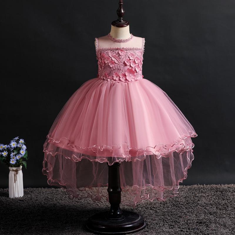 It's YiiYa   Flower     Girl     Dresses   6 Colors Sleeveless O-Neck Court Train   Girls   Pageant   Dresses   Vestidos De Noches Para Ninas 2002