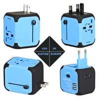Novo Adaptador de Viagem Universal Plugues Elétricos Sockets Converter EUA/AU/UK/EU com Dupla de Carregamento USB 2.4A LED Indicador De Energia