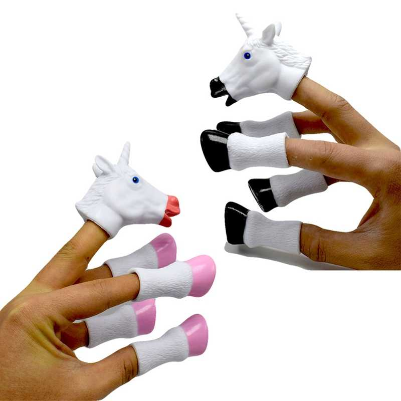 3pcs/set Newest Cartoon Unicorn Animal Finger Puppet Finger Toy Finger Doll Baby Educational Hand Toy Tell Story  Color Random