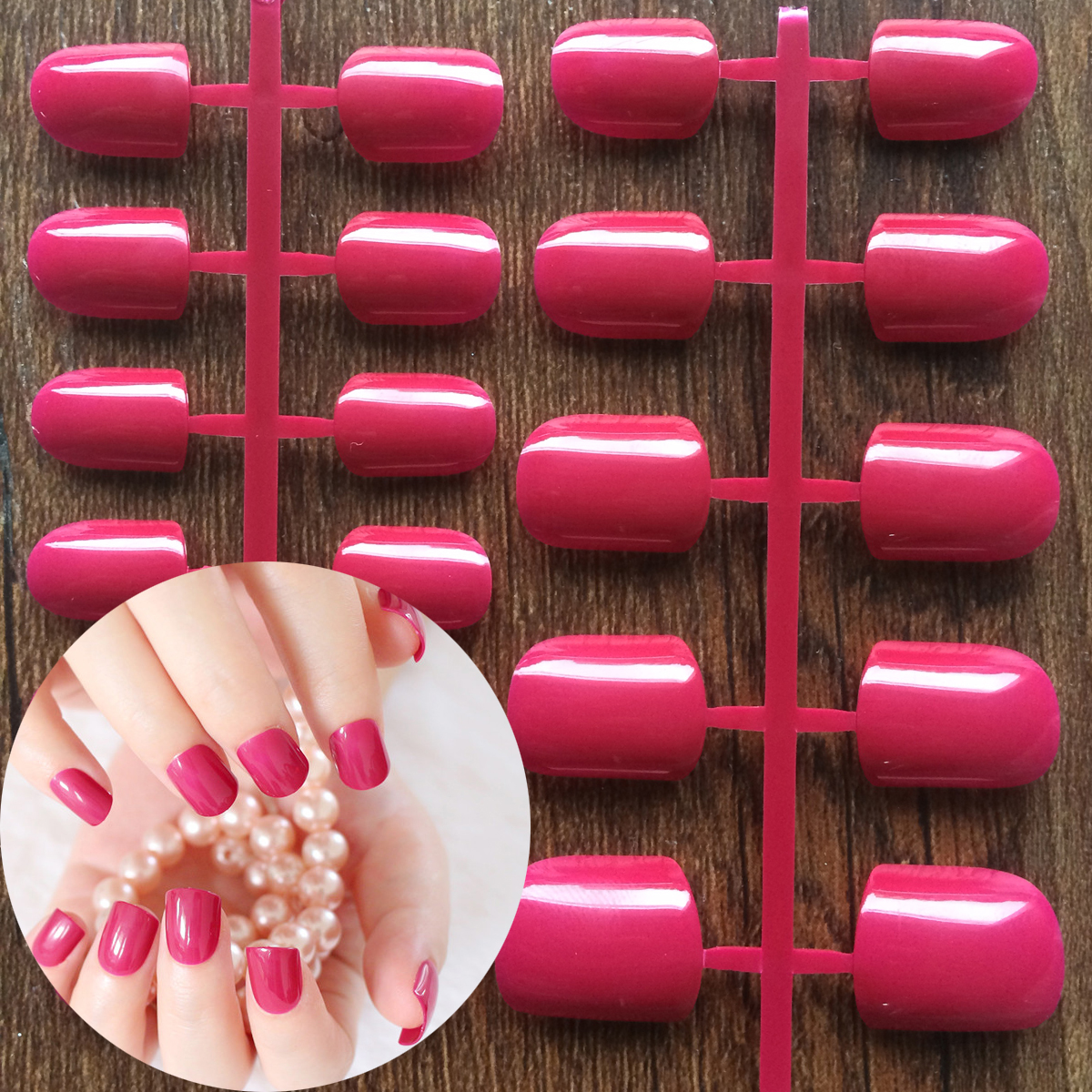 24pcs/set Beaitiful Fake Finger Nails Dark Rose Red Acrylic Candy ...