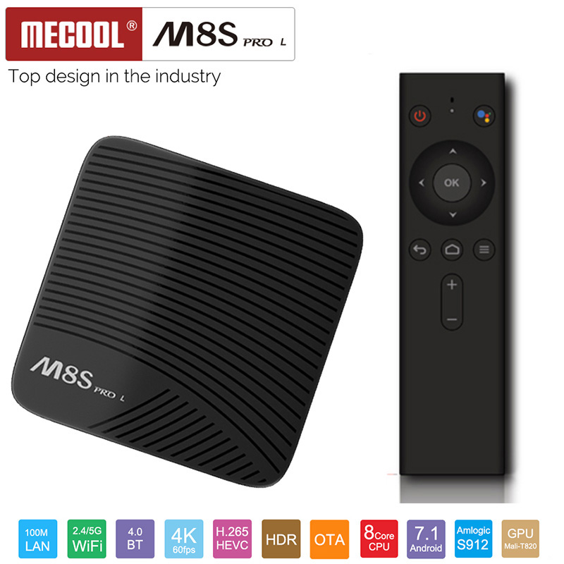 Mecool M8S PRO L 4 k TV Box Android 7.1 Smart TV Box 3 gb + 16 gb Amlogic S912 sans Voix Contrôle Cortex A53 CPU Bluetooth 4.1