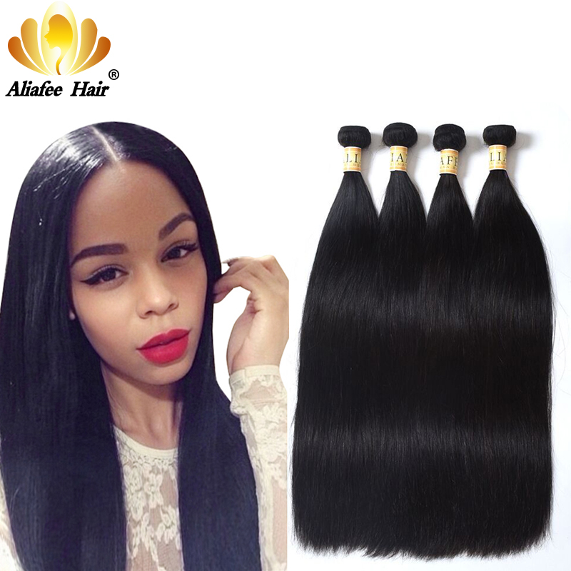 Aliafee Brazilian Hair Weave Bundles natural color/#2/#4 Brazilian Straight Hair 4 Bundles Deal 8-30 inch Human Hair Non Remy