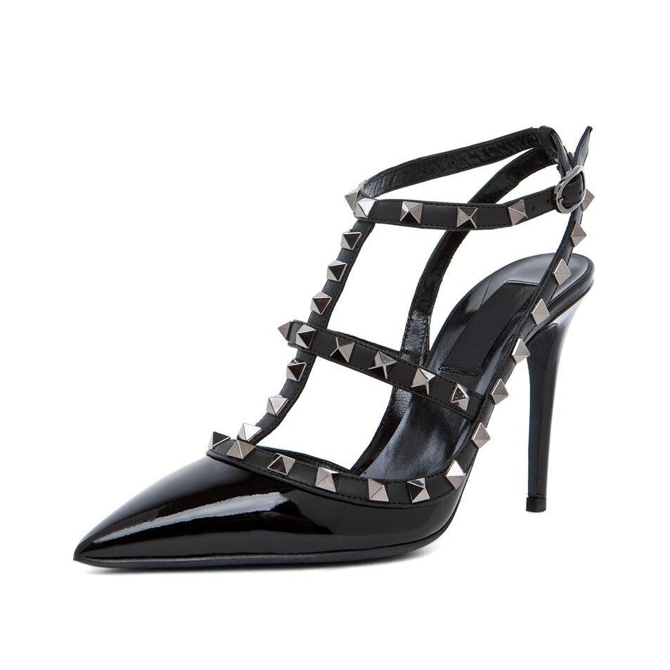 ФОТО Pointed Toe Patent Leather Women Pump Rivets T-straps Stilettos High Heel Kadin Ayakkabi Plus Size 42 Custom Heel Height