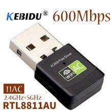 Kebidu 2.4 + 5 Ghz MIni Kablosuz USB Wifi adaptörü ücretsiz sürücü Alıcısı 600Mbps USB Wifi AC Dongle Adaptörü Ağ Kartı dizüstü Bilgisayar için