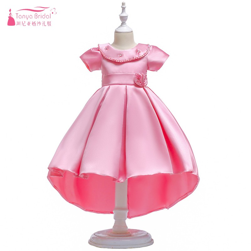 Pink /Champagne/Purple /Blue   Flower     Girls     Dress   For Wedding and Party Elegant Hig Low Satin Kids pageant   dresses   ZF112