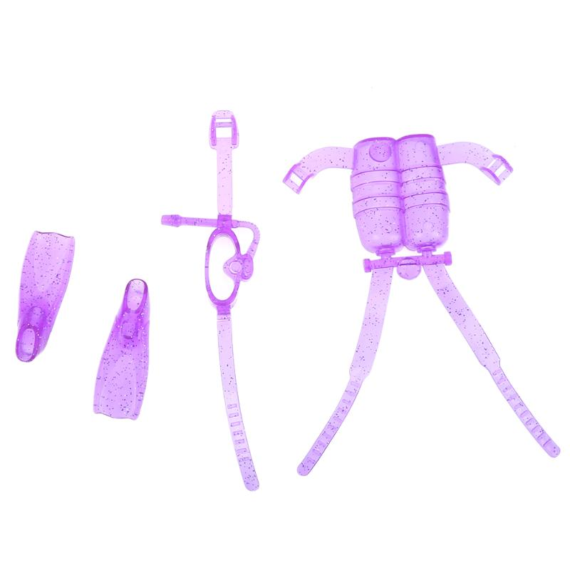 4pcs Set Dolls Accessories Purple Fashion Diving Equipment Clothes Shoes Glasses Kit for Barbie Dolls Girls