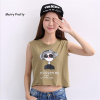 Merry Pretty New Women Tank Tops Letters Printed Cute Crop Tops Lady Tees Fashion Summer Style Casual T Shirts Kawaii t-shirts