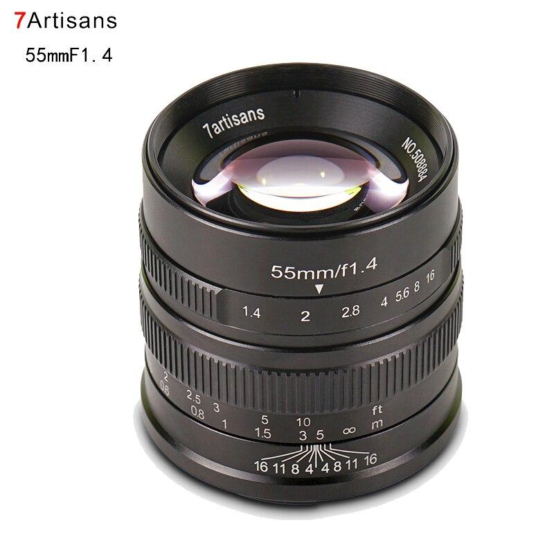 7 artisans 55mm F1.4 Grande Ouverture Manuel Focus Lens pour Canon EOS M6 M50/Sony E Mont A6500 a7RIII A7III/Fuji X-T2/M4/3 GH5 GH4