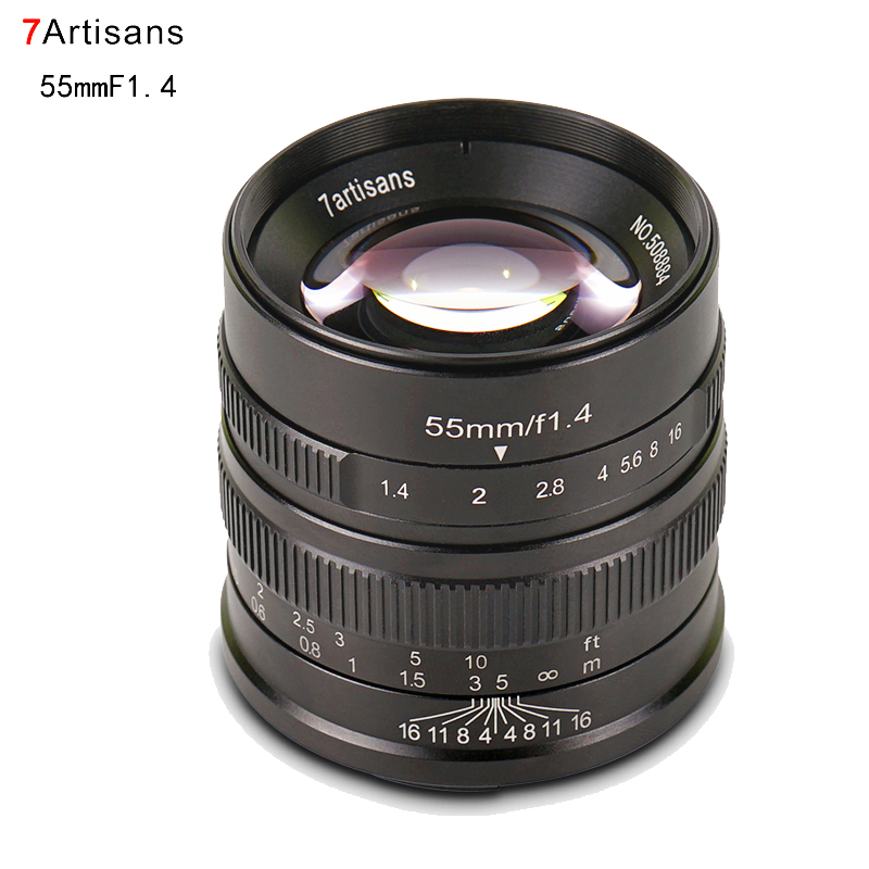 7artisans 55mm F1.4 Large Aperture Manual Focus Lens for Canon EOS M6 M50/Sony E Mount A6500 A7RIII A7III/Fuji X-T2/M4/3 GH5 GH4