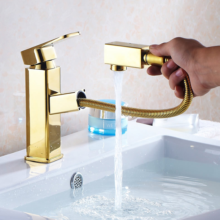 Gold Plating Pull Out Brass Bathroom Sink Faucet Mixer Hot Cold Muilt Function Salon Tap For