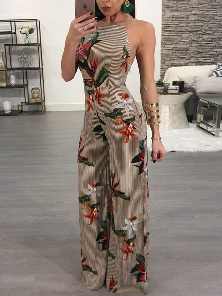 Women 2018 Fashion Plus Size Floral Printed Stylish Jumpsuit Halter Open Back Casual Wide Leg Jumpsuit