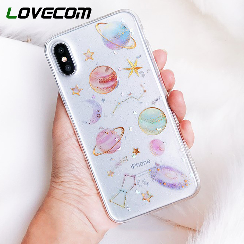 LOVECOM Epoxy Phone Case For IPhone 11 Pro Max XR XS Max X 5 5S 6 6S 7 8 Plus X Planet Star Transparent TPU Back Cover Cases