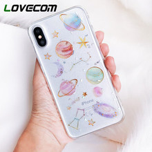 LOVECOM epoxi teléfono caso para iPhone 11 Pro Max XR XS Max X 5 5S 6 6S 7 7 8 fundas traseras de TPU transparentes Plus X Planet Star(China)