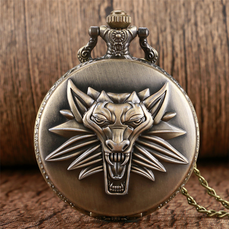 Bronze/Grey Roar Lion Full Hunter Quartz Pocket Watch Arabic Numerals  Necklace Pendant Clock Fob Sweater Chains Hot Sale 2019
