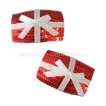 NCW083 Hot sale red sequin wedding intimates special design women clothes underwear sexy dress nipple cover with bowknot