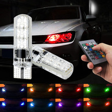 T10-W5W-5050-6SMD Led Auto Luci di Ingombro Larghezza SMD RGB LED T10 194 168 Lampadina A Distanza Fonte di Illuminazione Interni Car Styling