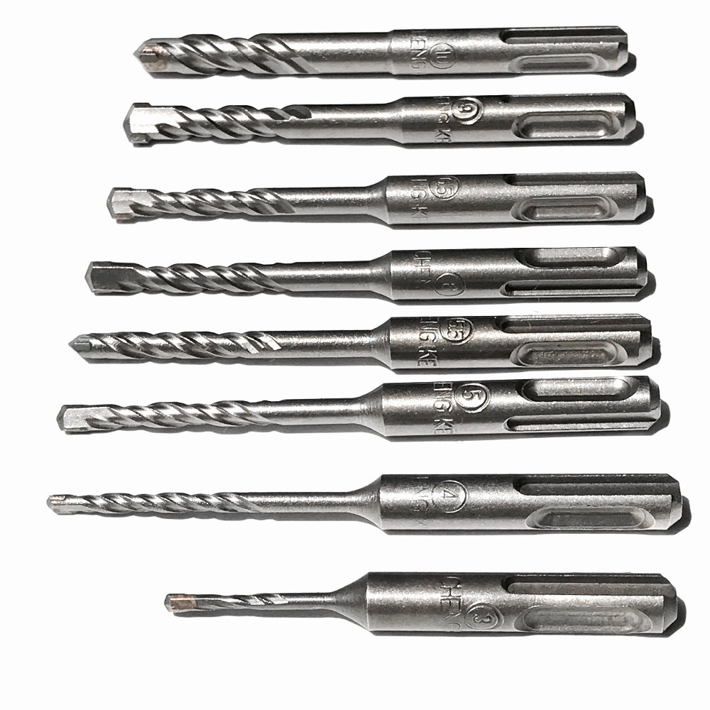 7PCS/set 3/4/5/5.5/6/6.5/10mm Solid alloy Tip SDS Plus Round Shank 4 hollow hammer Drill Bits for home DIY decoration using