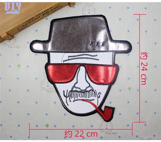 Lace Man with a Pipe PU Sew Iron On Patches Embroidered Leather Cloth Applique Horse Badge Fabric Apparel Sewing Crafts DIY