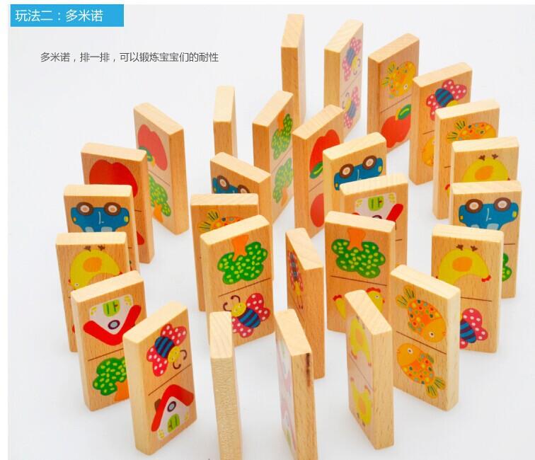 Candice guo деревянная игрушка деревянные головоломки мультфильм дерево автомобиль утка узор Пасьянс Домино подарок на день рождения подарок на Рождество 28 шт./компл