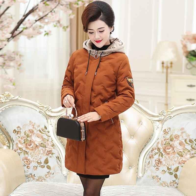 orange Dans Manteau À P8816 Noir Unie Section Vieux Couleur Femmes Et De Capuchon En Coton Moyen Longue La D'âge marron wPq1S7xHa