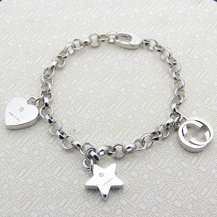 Top quality brand G letter Jewelry wholesale 925 silver heart pentacle thick bracelet star heart lovers
