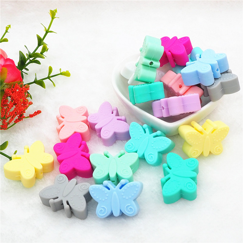 Chenkai 10pcs BPA Free Silicone Butterfly Teether Beads DIY Baby Shower Teething Montessori Sensory Toy Animal Beads Accessories in Baby Teethers from Mother Kids