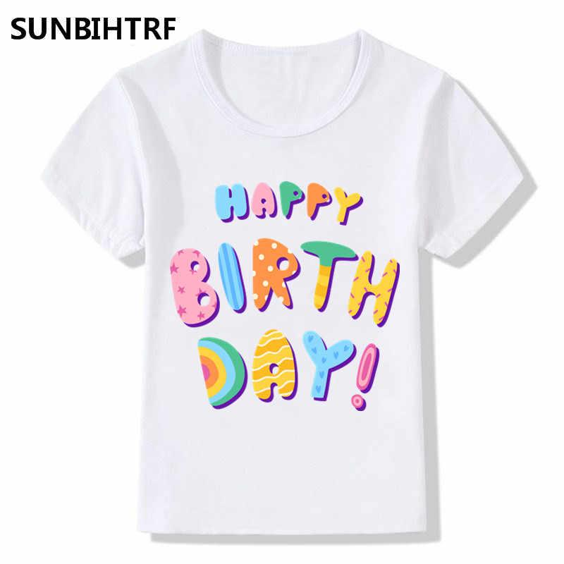 Children Fashion Cartoon Art Word Happy Birthday Design Funny T Shirt Kids Clothes Big Boys