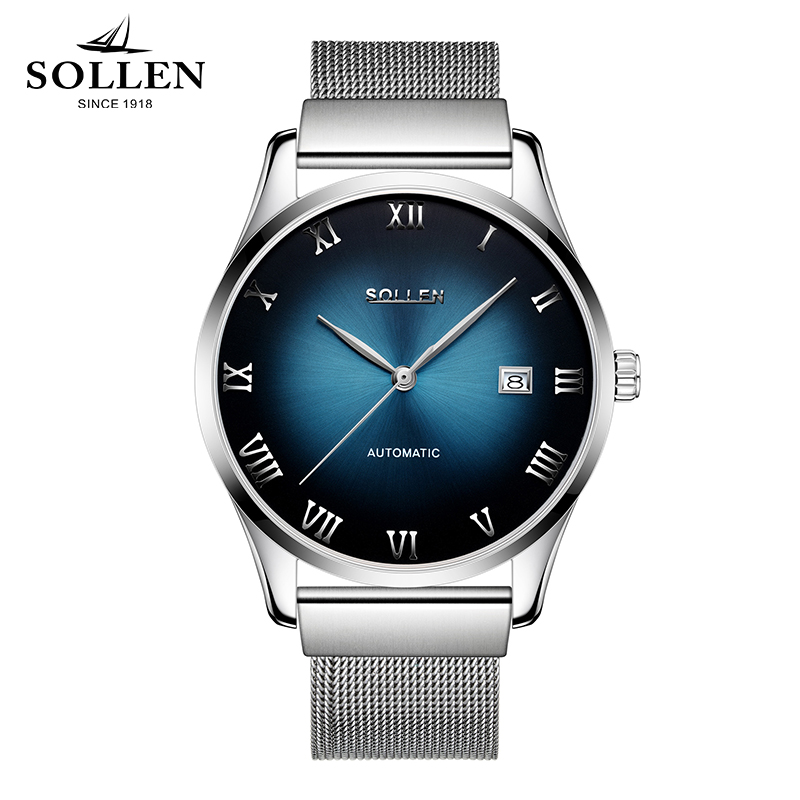 New Top Brand SOLLEN automatic mechanical watches Casual men watch stainless steel Mesh strap ultra thin clock male Relogio brand watches seiko automatic movement binger men mechanical watch stainless steel mesh with blue dial clock relogio masculino