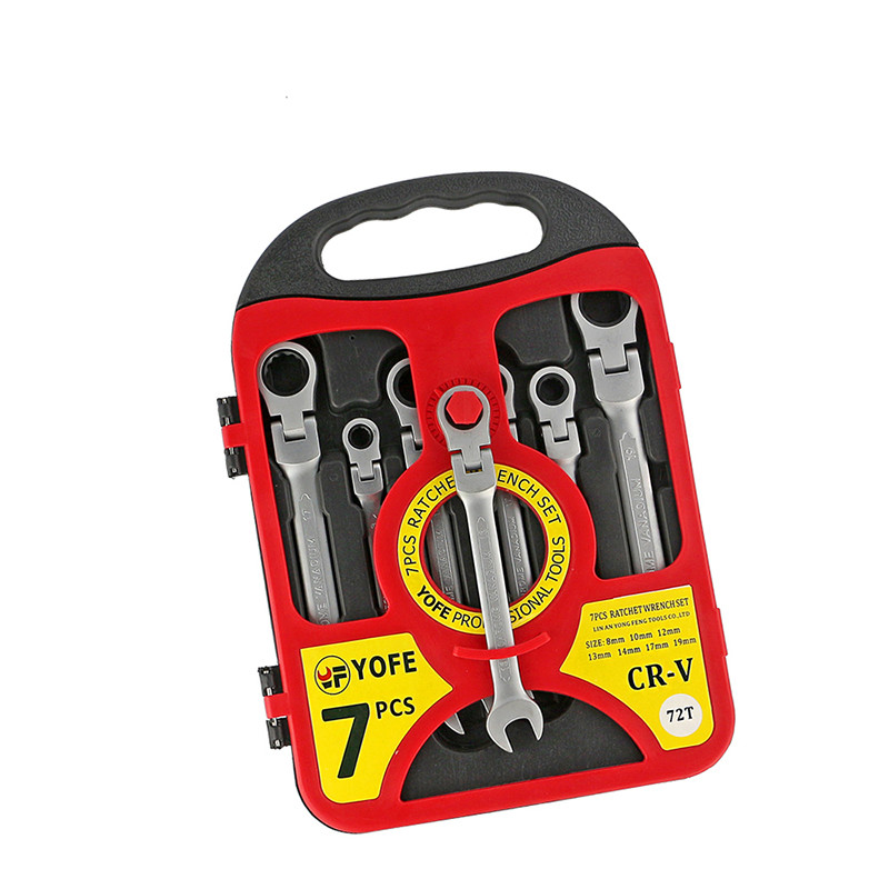 B 8,10,12,13,14,17,19 Flexible Head Ratchet Spanner Combination Wrench Set Auto Repair Hand Tools For Kit A Set Of Keys AD2008 7pcs8 10 12 13 14 17 19mmfixed head the key ratchet combination wrench set auto repair hand tool a set of keys ad2012