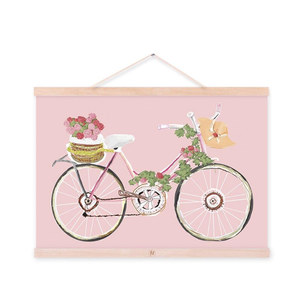 Flower Bicycle Pink Original Modern A3 Poster Prints