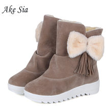 Suede flat snow boots Warm comfortable cotton shoes sleeve increase female boots high school students help cotton shoes f004(China)