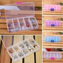 4 Colors 10 Grids Adjustable Jewelry Tool Box Beads Pills Organizer Nail Art Tip Storage Box Case hard transparent ,Nov 25