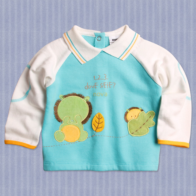 Niños otoño primavera de manga larga de la camiseta sudaderas niños Sudaderas ropa 100% algodón para niños 6M-4Y 5 UNIDS