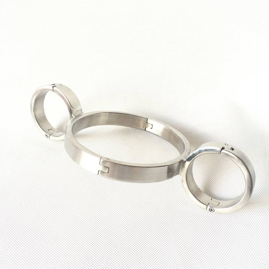stainless steel bondage collar+handcuffs for sex bdsm bondage restraints collar sex metal hand cuff sex products for couples блуза marina yachting b1 028 58626 00 65023 092