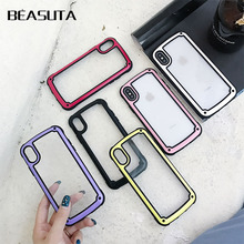 Shockproof Clear Soft Silicone Armor Case for iphone XS MAX case 6 6s 6plus 7 8 plus XR  Drop-proof Simple Solid Color