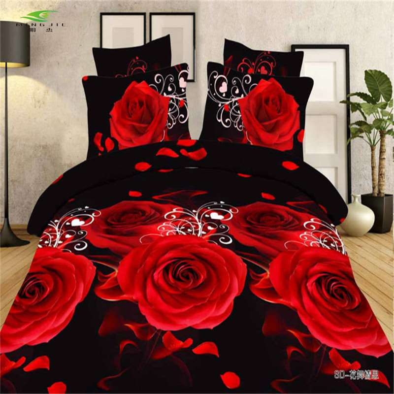 Red Rose 3d Bed Sheet Flat Screen Printing Bed Cover Bed