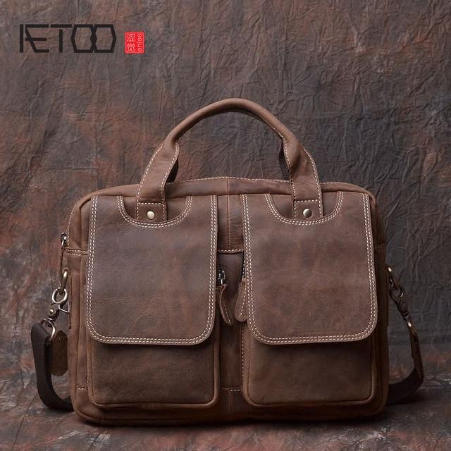 4bc0f6a42621d AETOO Handgemachten männer Taschen Original Echtes Leder Handtasche Machen  Alte Stute Marmor männer Schultern Messenger A4