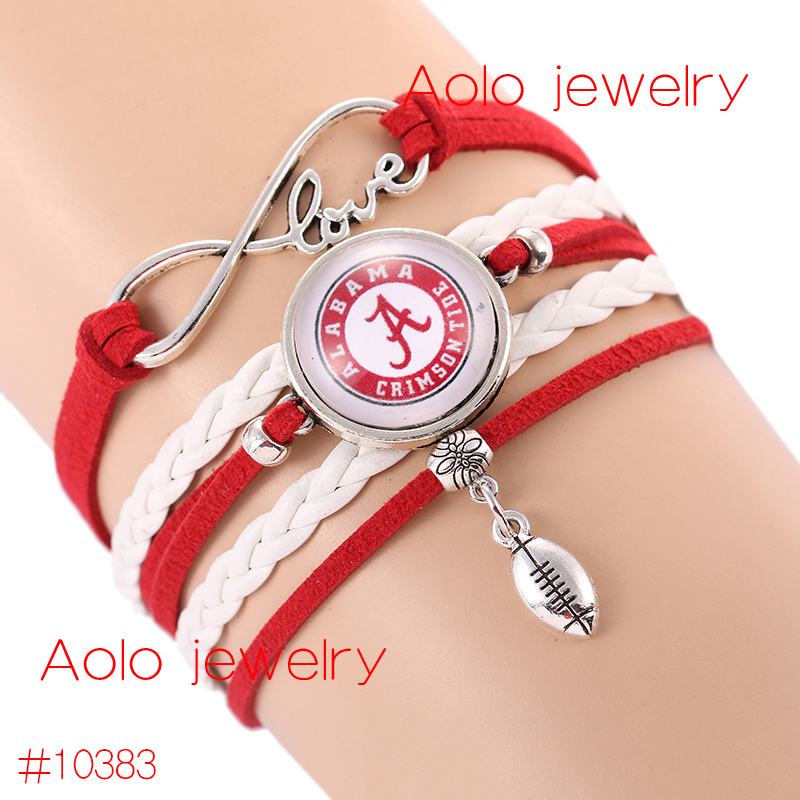 Ncaaf Alabama Crimson Tide Gl Cabochons Bracelet College Football Team New Infinity Drop Shipping In Charm Bracelets From Jewelry