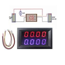 4 Бит Цифровой вольтметр амперметр DC 200 в 10A красный синий светодиодный двойной дисплей Напряжение Amp панель Измеритель 12 В 24 в автомобильный ...
