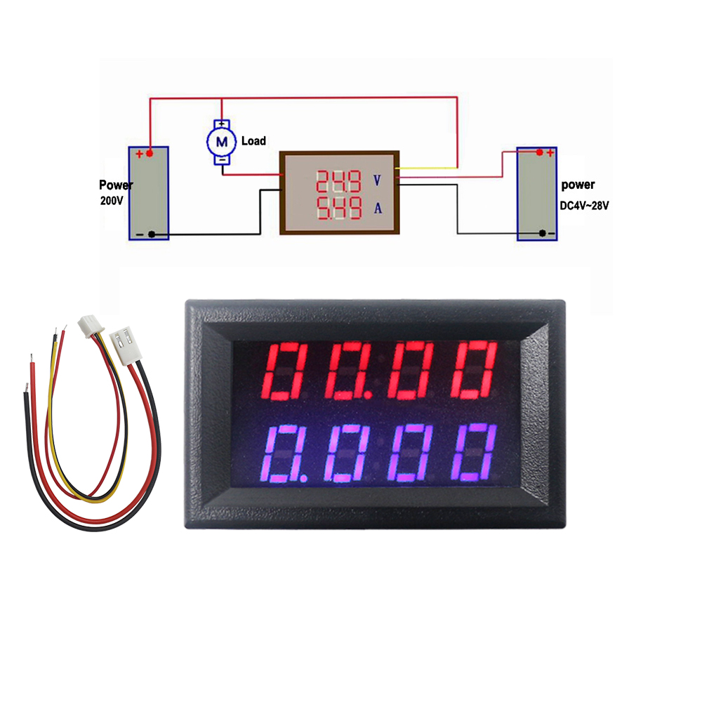 4 Bit Digital Voltmeter Ammeter DC 200V 10A Red Blue LED Dual Display Voltage Amp Panel Meter 12v 24v Car Current Monitor Tester