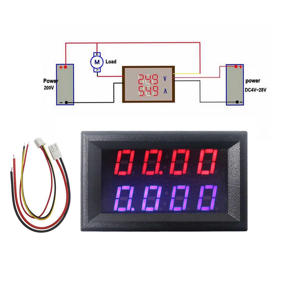 Voltímetro Digital de 4 bits amperímetro CC 200V 10A rojo azul LED pantalla Dual voltaje panel de Medidor de amperios 12v 24v Monitor de corriente del coche probador