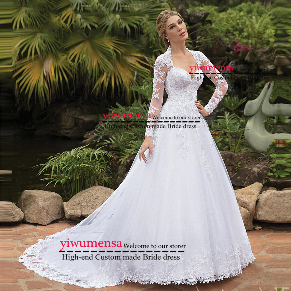 Elegant Lace A Line Wedding Dress Full Length Sleeves Appliques Wedding Dresses Bridal Gowns Custom Made