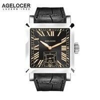 2017 AGELCOER Marca Suizo de Ginebra del reloj de Los Hombres Reloj de Pulsera Mecánico Automático Relojes de pulsera resistente al agua Fecha de Calendario con la caja de reloj